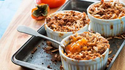 """Recipe:<a href=""""http://kitchen.nine.com.au/2016/06/16/11/26/pohs-persimmon-and-amaretti-crumble-with-mascarpone-and-aged-balsamic"""" target=""""_top"""">Poh's persimmon and amaretti crumble with mascarpone and aged balsamic</a>"""