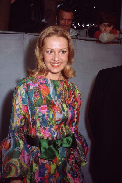 Jeanne Moreau in a Pucci-inspired silk dress, 1975.