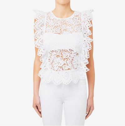 """<a href=""""https://www.seedheritage.com/p/contrast-lace-top/5082167-5083-14-se.html#start=1"""" target=""""_blank"""" draggable=""""false"""">Seed Heritage Contrast Lace Top, $129.95.</a>"""