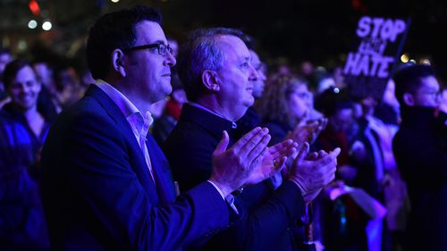 The state's Premier Daniel Andrews (left) attended the vigil. (AAP)