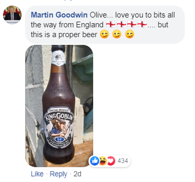 Martin Goodwin has praised Olive's request, but not her choice of beer.