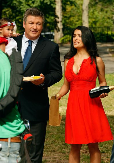 "Actor Alec Baldwin and Salma Hayek filming on location for ""30 Rock"" on October 10, 2008 in New York City."