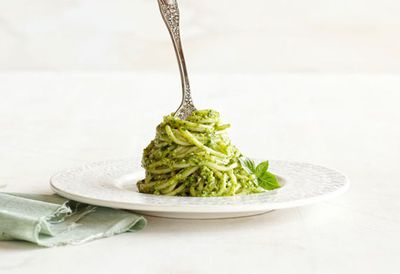 "Recipe:&nbsp;<a href=""http://kitchen.nine.com.au/2016/05/20/10/45/basil-walnut-pesto-spaghetti"" target=""_top"">Basil walnut pesto spaghetti</a>"