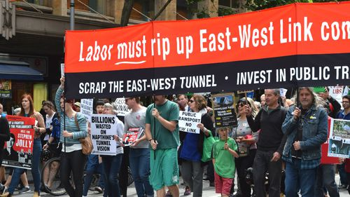 Marchers protest the East West link. (AAP)