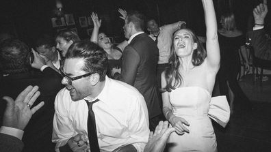 Dan Levy dancing with sister Sarah Levy at her wedding to producer Graham Outerbridge
