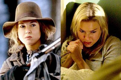 <B>Oscar winner:</B> <I>Cold Mountain</I> (2003). Zellweger is the exuberant frontier lass Ruby Blah, who radiated hope for the emotionally downtrodden characters — and for the people who claimed Zellweger had potential to play something other than Bridget Jones.<br/><br/><B>Stinker:</B> <I>Case 39</I> (2009). Ol' Squinty Eyes found herself playing a care worker trying to save a child from her abusive parents, when they're all struck by a spooky plot twist. The film had potential, Zellweger blew it.