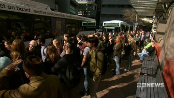 Queues were lengthy to get onto replacement buses.
