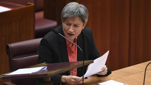 Penny Wong has criticised Marise Payne for attending a conference on press freedom after the AFP raids on the ABC and News Corp.