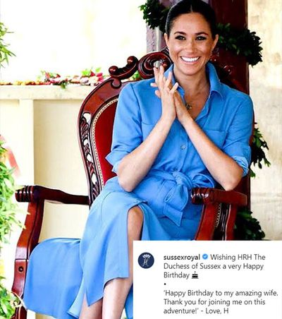 Prince Harry's sweet message on Meghan's 38th birthday, 2019