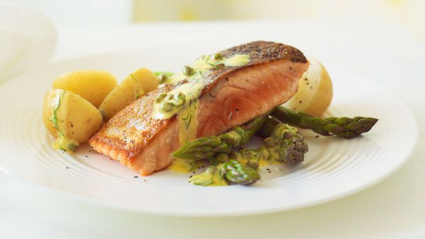 Crispy skinned salmon with lemon, dill and caper sauce
