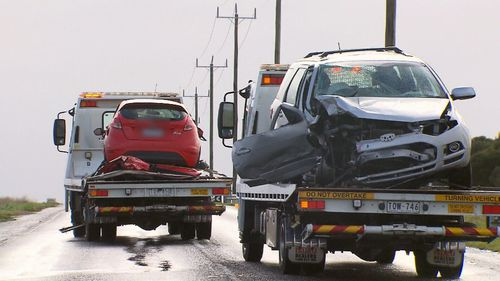 Police allege a Ford Territory was overtaking a Honda SUV and collided head-on with a Ford Focus. Picture: 9NEWS