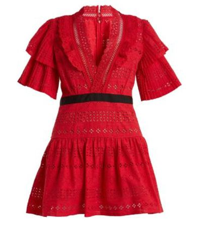 "<a href=""https://www.matchesfashion.com/au/products/Self-portrait-Deep-V-neck-broderie-anglaise-cotton-dress-1185925"" target=""_blank"">Self Portrait Deep V-Neck Broderie-Anglaise Cotton Dress, $380. </a>"