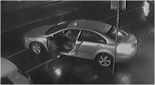 The passenger can be seen getting out of the car and running inside while the driver casually parks and waits for his associate to return.