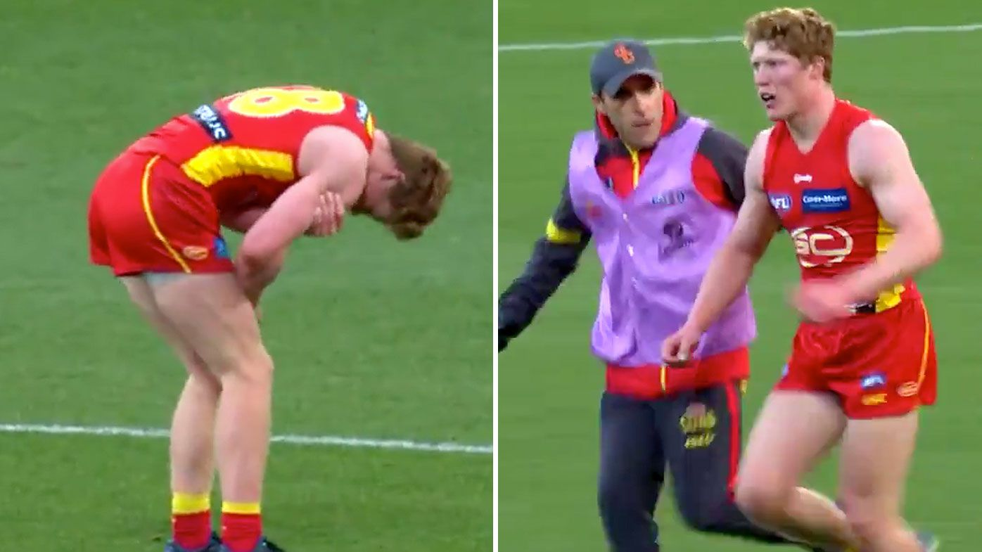 Gold Coast Suns Matt Rowell goes down with shoulder injury