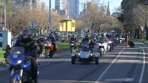 The officer was among 300 riders in the Wall to Wall Ride who set out from the Victoria Police Memorial in St Kilda Road, Melbourne headed for Merimbula and then on to Canberra on Saturday.