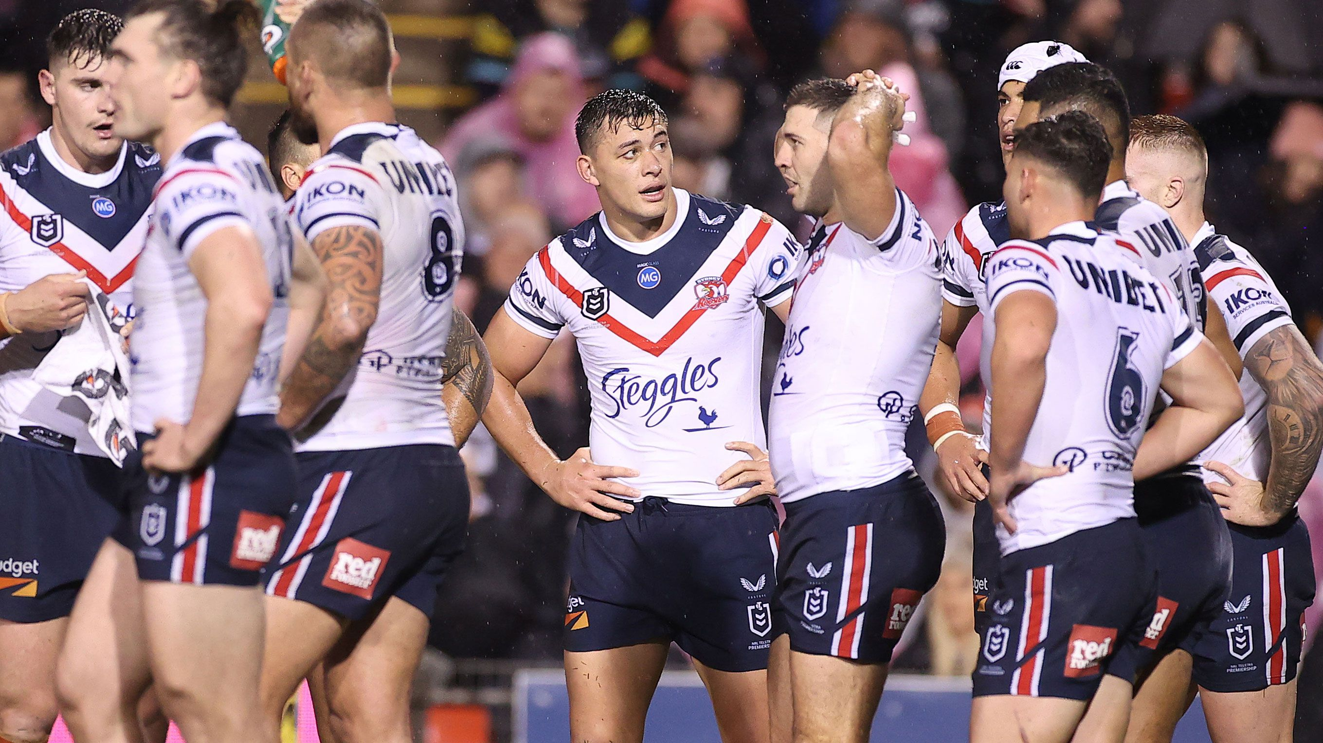 Sydney Roosters players after conceding a try against the Panthers.