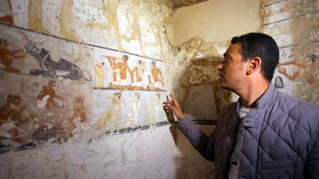 An Egyptian archaeologist points to wall paintings. (AAP)