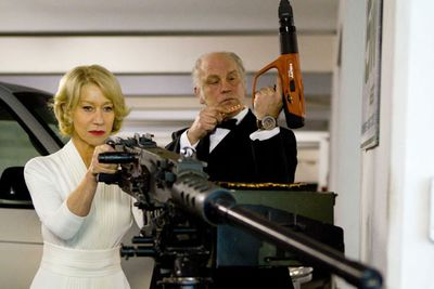 """Retired, Extremely Dangerous"": that's Vic, alright. There's something hugely satisfying about seeing Helen Mirren handle machine guns and blast the baddies, with not a ruffle in her nicely pressed gown."