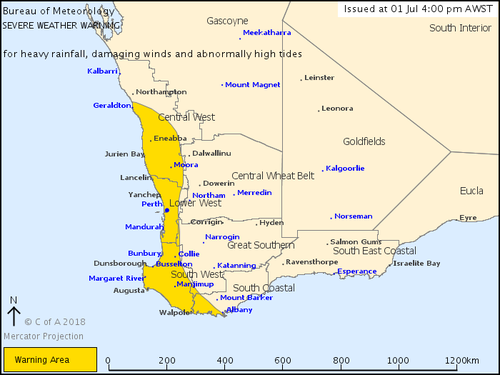 The Bureau's warning includes Perth and much of WA's coast. (BoM)