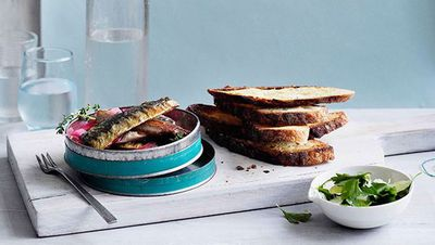"Recipe: <a href=""http://kitchen.nine.com.au/2016/05/16/18/46/soused-sardines-on-toast"" target=""_top"">Soused sardines on toast</a>"