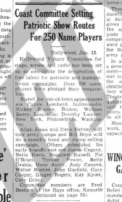 Variety report on Carole Lombard's war bond drive