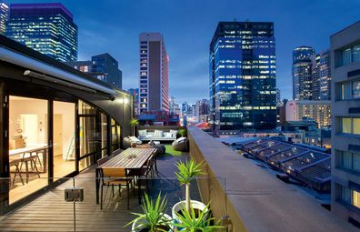 Ovolo Laneways outdoor terrace with city views