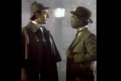 <b>Holmes and Watson:</b> Brent Spiner and LeVar Burton.<br/><br/><b>The case:</b> If you had an amazing bit of technology like the holodeck, of course you'd use it to pretend you were Sherlock Holmes. That's what Data (Spiner) did, with his fellow crewman LaForge (Burton) playing Watson. Trouble arose when the computer simulation brought a nefarious version of Professor Moriarty to life.