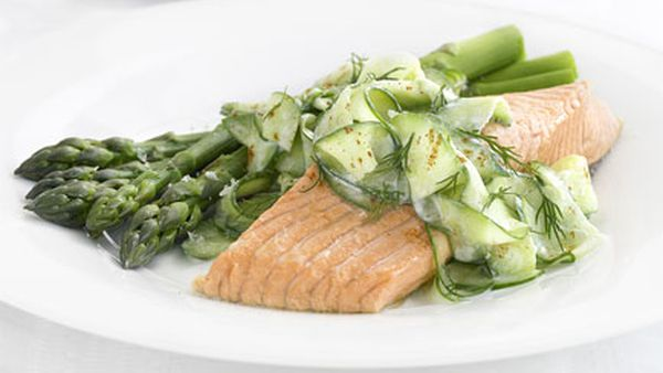 Poached trout with cucumber yoghurt salad