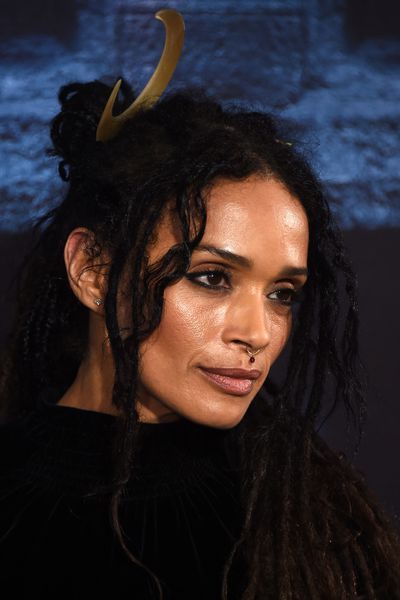 Lisa Bonet and her moon motif headpiece.