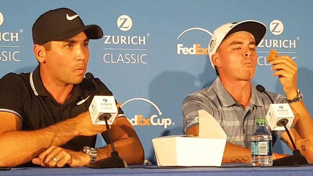 Australian golf star Jason Day shares a Down Under treat with US star Rickie Fowler