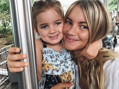 Nude by Nature ambassador and model Elyse Taylor with three-year-old daughter, Lila.