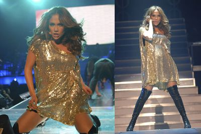Hitting the floor in gold at a 2007 concert.