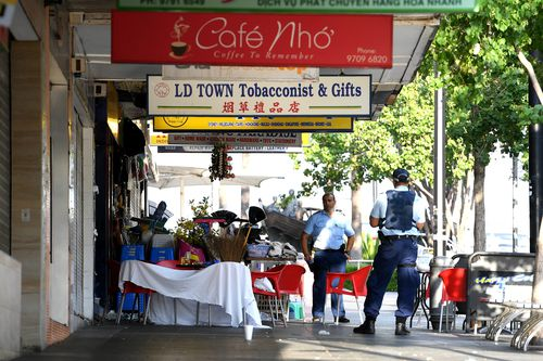 The shooting took place outside the Happy Cup cafe in Bankstown. (AAP)