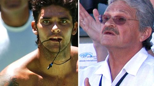 Former Australian tennis star Mark Philippoussis, left, and his father and coach Nick.