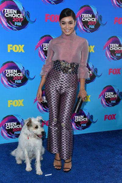 Vanessa Hudgens in Reem Acra and Happy the dog at the 2017 Teen Choice Awards, LA