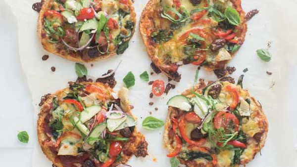 Nadia Lim's pizzettes with Greek salad