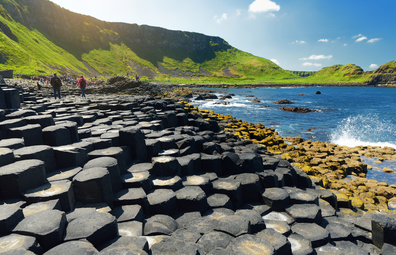 Giants Causeway, an area of hexagonal basalt stones, created by ancient volcanic fissure eruption, County Antrim, Northern Ireland