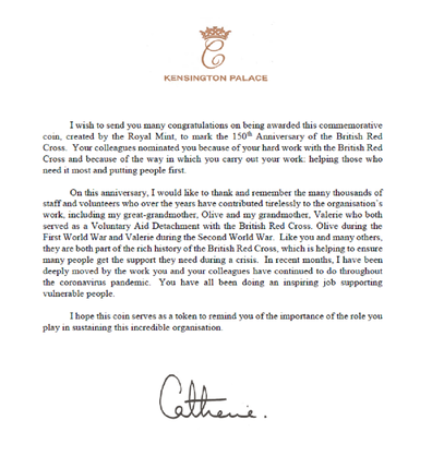 The Duchess of Cambrige has written to the Red Cross.