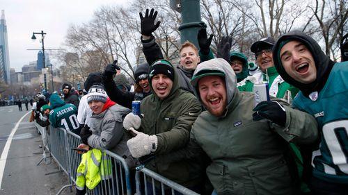 Eagles fans 'twenty deep' on the streets of Philadelphia (AAP)