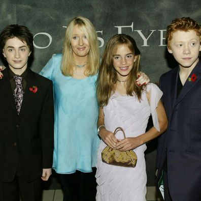 Rupert Grint, Daniel Radcliffe and Emma Watson and author JK Rowling at the world premiere for Harry Potter and the Chamber of Secrets in 2002