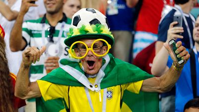 A supporter in a Brazil jersey seen in the stands prior to the Russia group B match between Portugal and Spain.