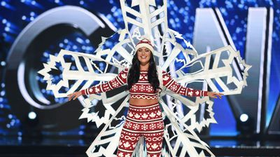 Miss Canada had maybe one of the comfiest outfits on except the giant snowflake stuck to her back.
