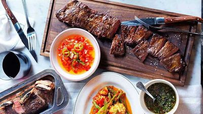 Chargrilled skirt steak and beef short ribs with salsa Criolla and chimichurri
