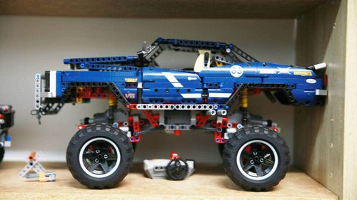 The first Lego Technics kit 'Spike' got, now nestling among his more than 700 pieces.