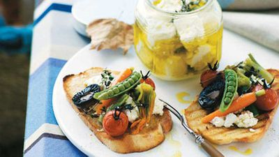 <strong>Serge Dansereau: Marinated goat's cheese with summer vegetables</strong>