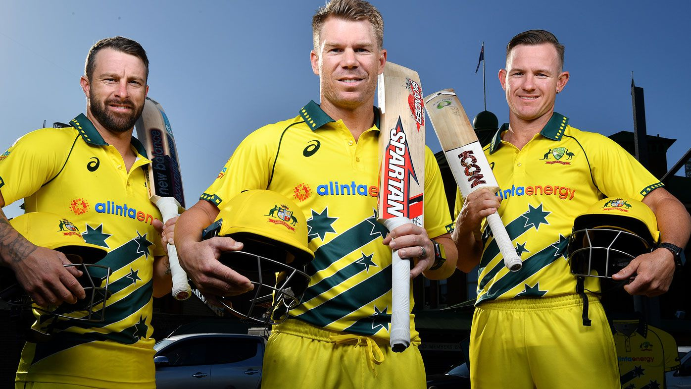 Australian Mens ODI players (L-R) Matthew Wade, David Warner and DArcy Short pose for a photo during a media opportunity at the SCG