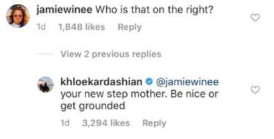 Khloé Kardashian, comment, troll, Instagram, photo