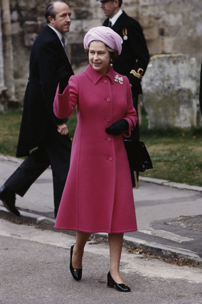 Queen Elizabeth II attending the wedding of Norton Knatchbull, grandson of Earl Mountbatten, and Penelope Eastwood, at Romsey Abbey, in Romsey, Hampshire, England, Great Britain, 20 October 1979