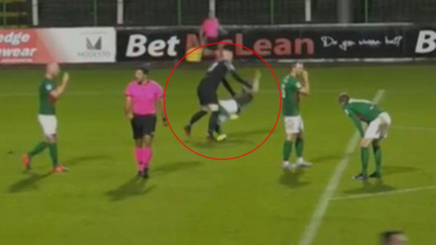 'Crazy' Irish goalkeeper attacks own teammate