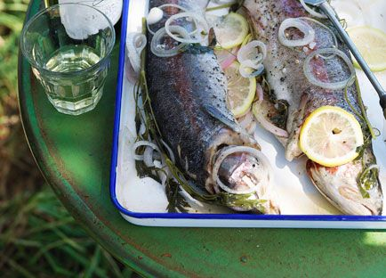 Cold poached trout with herb mayonnaise